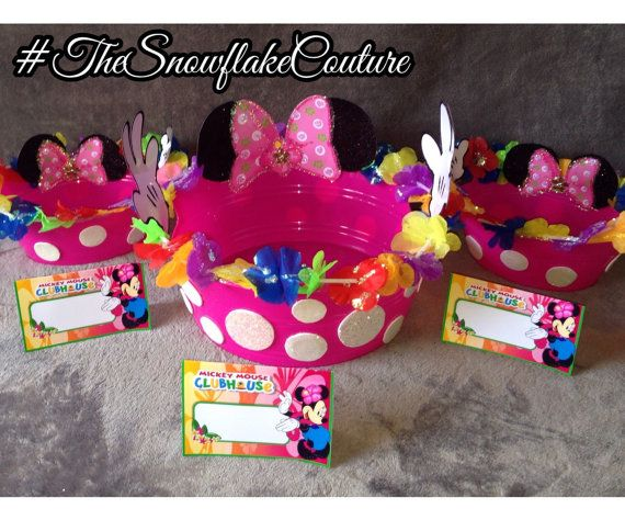 Set of 3 Minnie Mouse Luau Party Snack Bowls with Food Tents