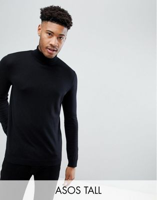 96dd53ca8 Image 1 of ASOS DESIGN Tall cotton roll neck in black