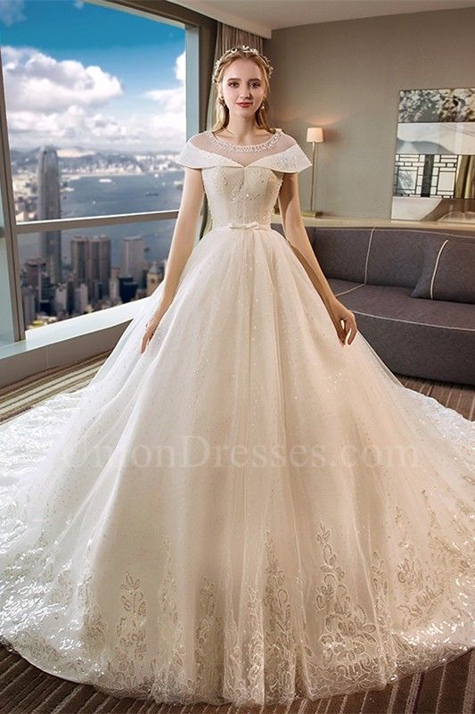 295d027b12283 Ball Gown Scoop Corset Cap Sleeve Crystal Beaded Lace Tulle Wedding Dress  With Bow Belt