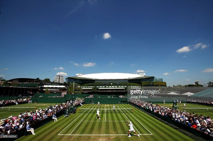 A general view of court 10 during the Gentlemen's Doubles first round match between Jean-Julien Rojer of of the Netherlands and Horia Tecau against Thanasi Kokkinakis of Australia and Jordan Thompson of Australia on day three of the Wimbledon Lawn Tennis Championships at the All England Lawn Tennis and Croquet Club on July 5, 2017 in London, England.