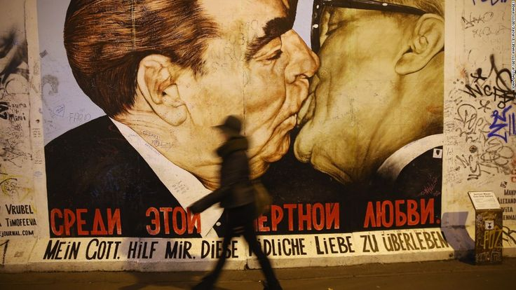"""The Kiss"" - The socialist fraternal kiss became famous via Erich Honecker and Leonid Brezhnev - 1979"