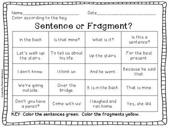 COMPLETE SENTENCE OR FRAGMENT?  Week 1 Great activity to get the students' minds thinking about sentence structure and deciphering complete sentences versus fragments.