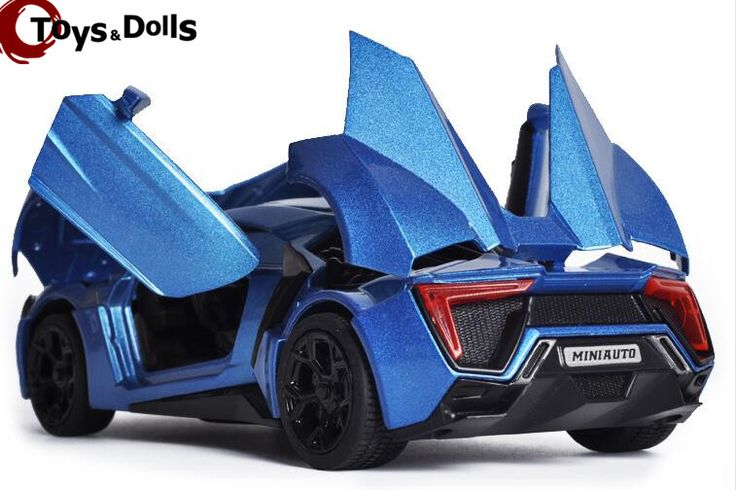 Escala 1:32 de Aleación Azul Lykan Hypersport Fast & Furious 7 Diecast Modelo de Coche Coche de Juguete Coches Modelo Juguetes Con Luz y sonido