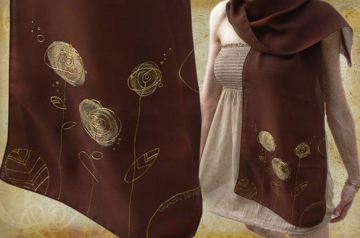 Sciarpa di seta marrone dipinta a mano con fiori dorati by Luciana Torre   http://it.dawanda.com/shop/ceramica-accessori-dipinti-Luciana-Torre
