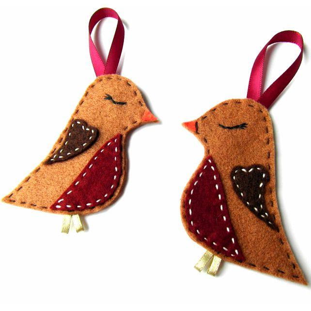 2x Felt  Sleeping Robin Christmas Decorations - Tree Hanging Decorations £8.00