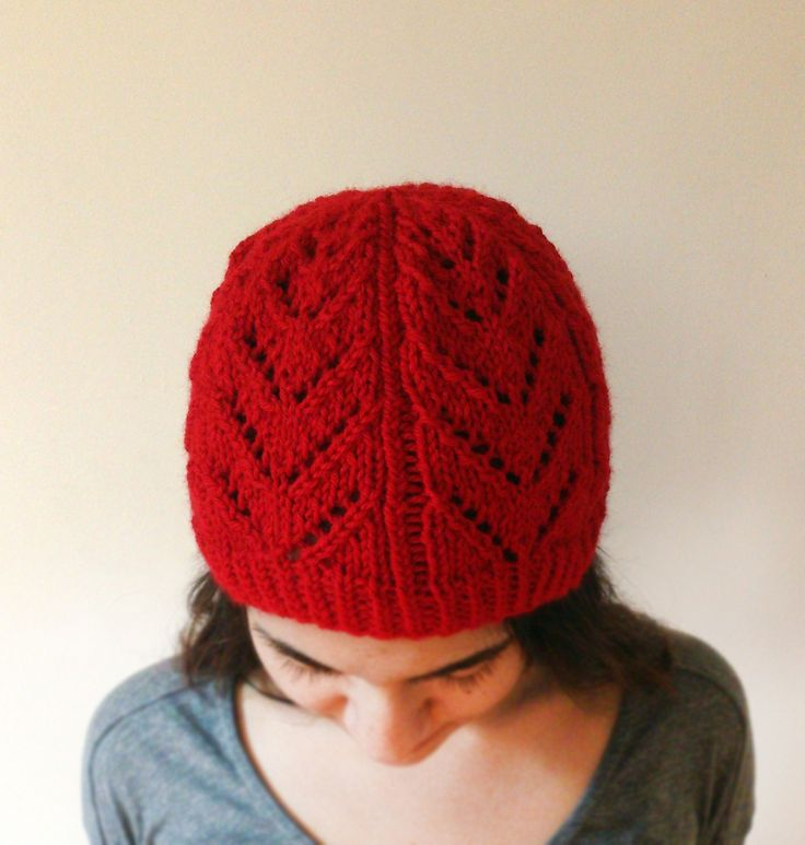 Hand Knit Red Hat, Red Lace Knit Hat, Red Lace Knit Beanie, Chunky Red Knit Hat, Women Hand Knit Red Hat, Cherry Lace Hat, Cosy Knit Hat by ManaKori on Etsy