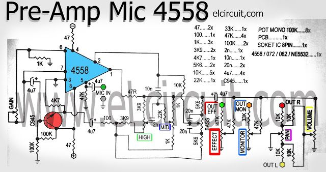 Mic pre-amp circuit using ic 4558 is a series of mic amplifier based on ic 4558 and also could use other op-amp ic ie TL072 / TL082 / NE5532. And a transistor C945 as a buffer circuit and other components of resistors and capacitors. See circuit schematic of mic pre amplifier :