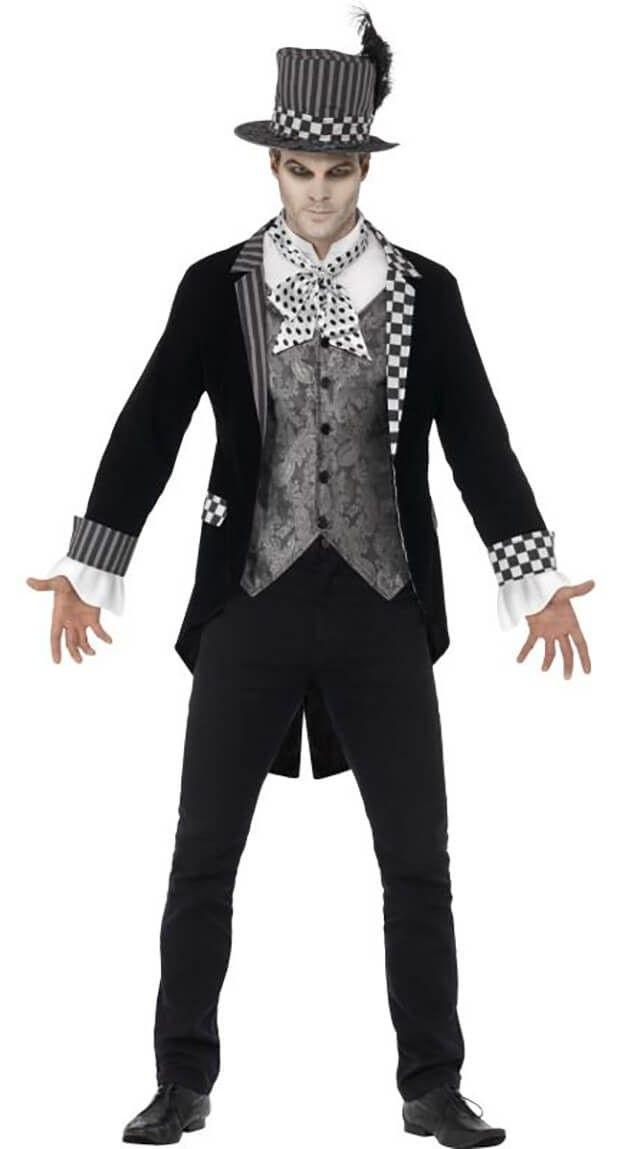 Mens Black Deluxe Dark Hatter Halloween Fancy Dress Costume