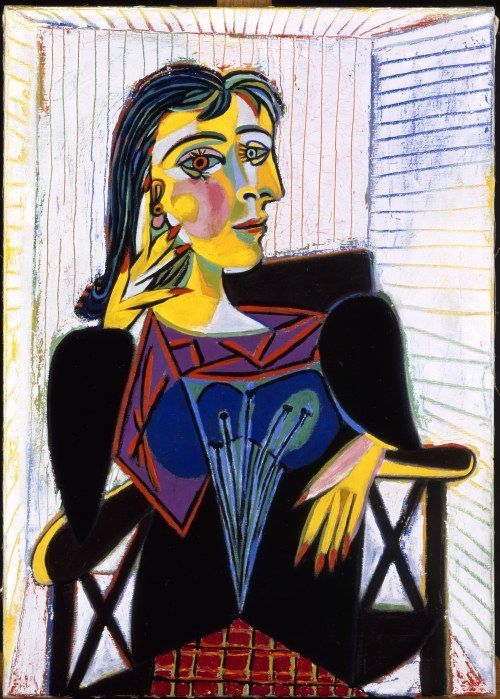 Pablo Picasso Portrait of Dora Maar, 1937 Oil on canvas Musée National Picasso, Paris Artist: Pablo Picasso (1881-1973) painted this in the same year as Guernica and the Weeping Woman series. Description from pinterest.com. I searched for this on bing.com/images