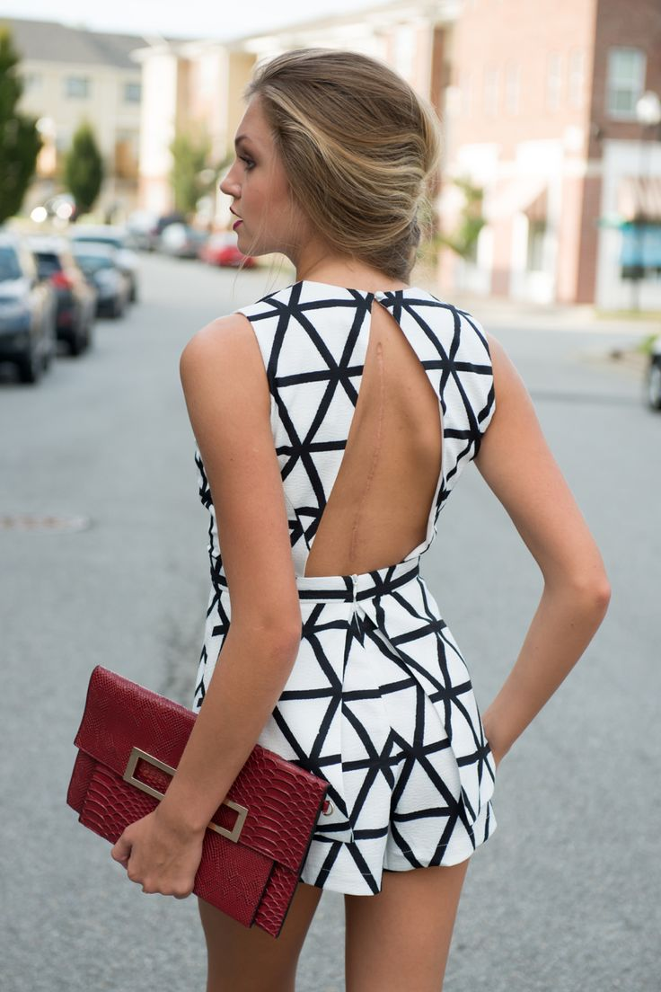Black white romper #swoonboutique