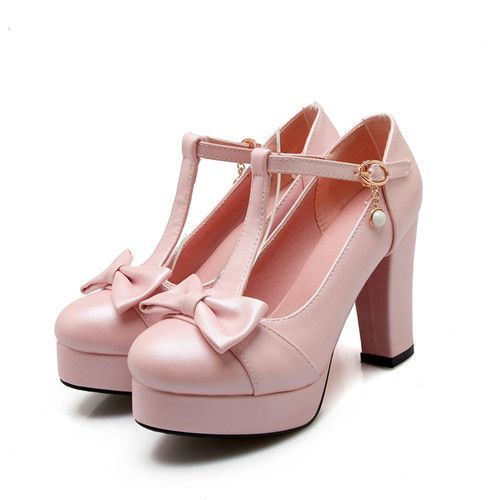 Plus Size Elegante Ragazze Dolci Lolita Mary jane T-Strap Bowtie Vestito Dal partito Scarpe Da Donna Punta Rotonda Blocco tacco Alto pompe(China (Mainland))