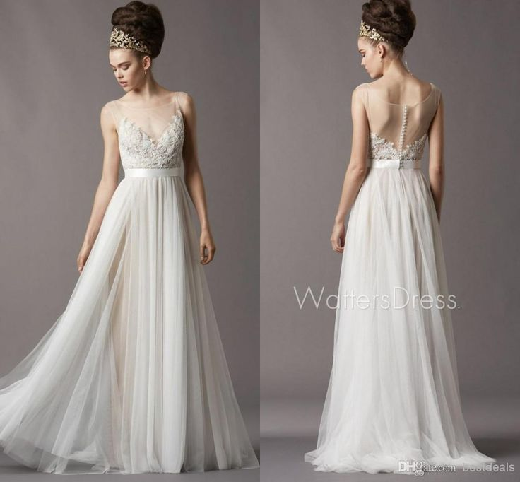 Amazing  Simple Lace Tulle Bohemian Beach Wedding Dresses With Half Sleeves Sweep Train Backless Cheap Bridal Gowns