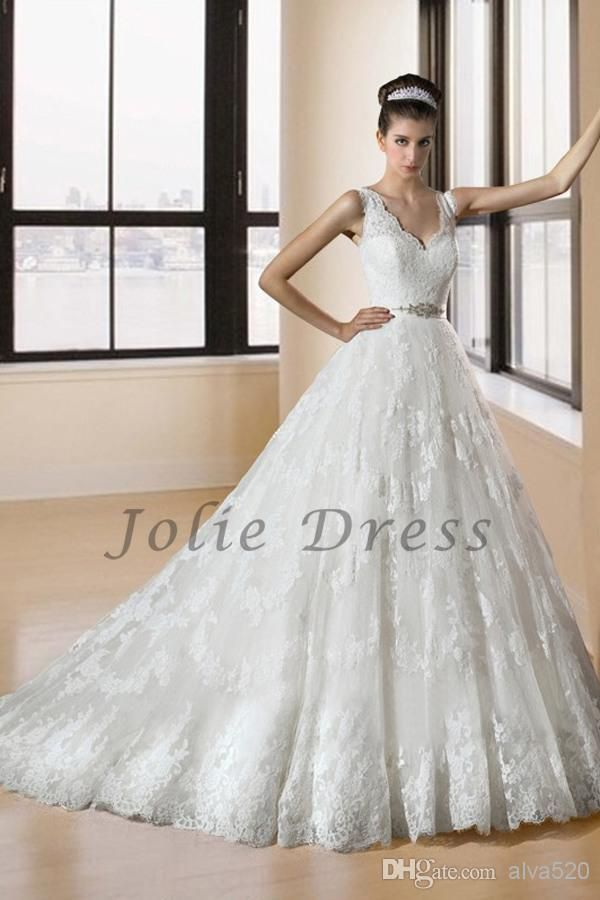 2014 Vintage V Neck Lace Ivory Sleeveless Chapel Ball Gown Wedding Dresses   Buy Wholesale On Line Direct from China