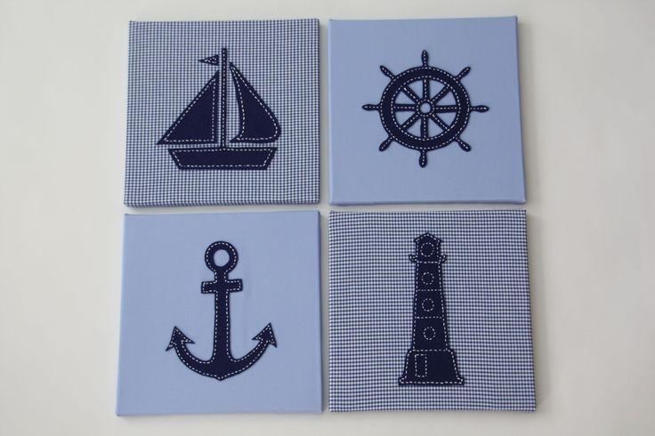 Maritieme schilderijen set van 4 (anker + zeilboot + stuurwiel + vuurtoren) 30x30 cm lichtblauw-donkerblauw | www.dekleineauto.nl