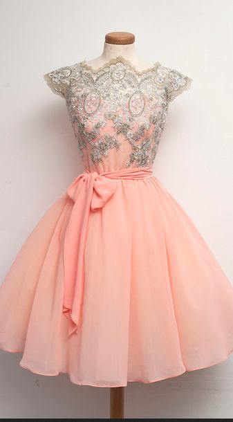 Custom Made Pink Lace Homecoming Dr