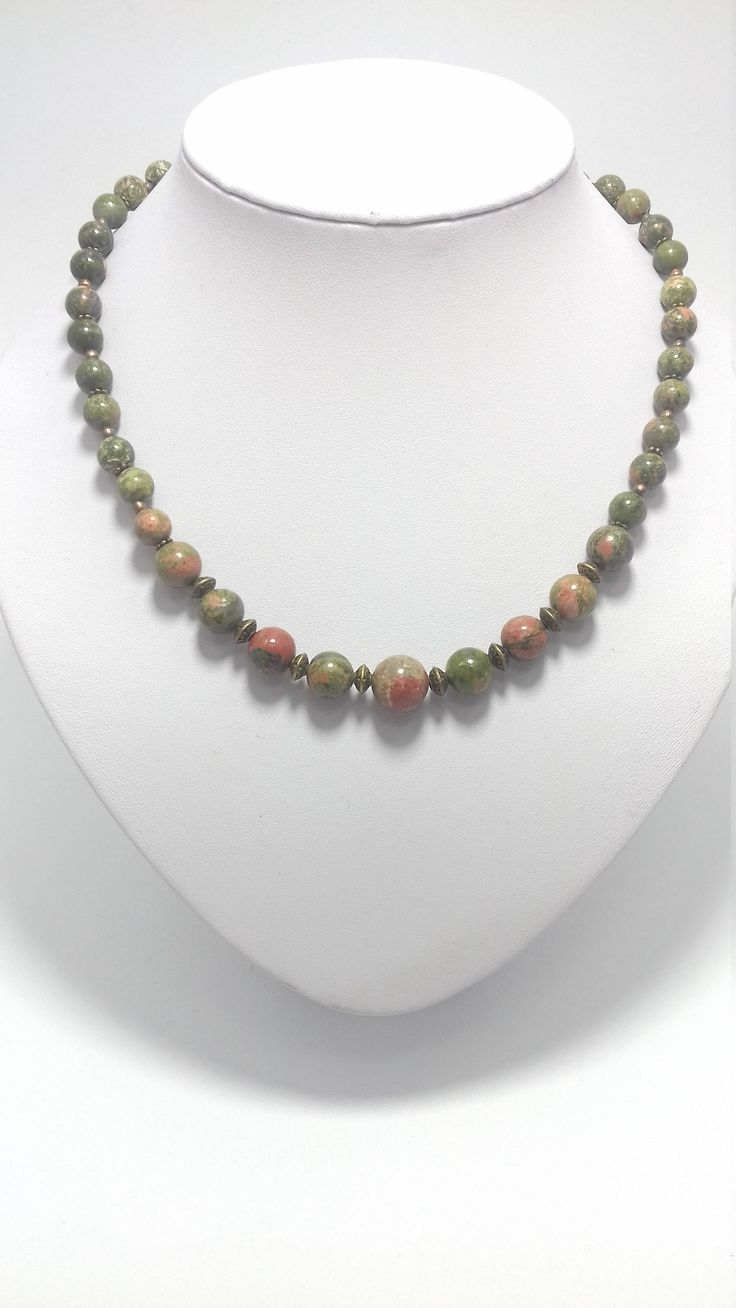 Unakite necklace. Natural Stones.  Green. by BeadsAndSilkHarmony on Etsy