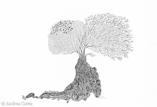 Tree of Uncertainty grew into a creature contained in the loose skin of a tree, an amoeba-like creature without roots, dragging a tail yet to be rooted. She is beautiful and strange. She is a tree, perhaps, but not entirely evolved yet, and she moves slowly as she wanders.   http://andrea-currie.artistwebsites.com/featured/tree-of-uncertainty-andrea-currie.html