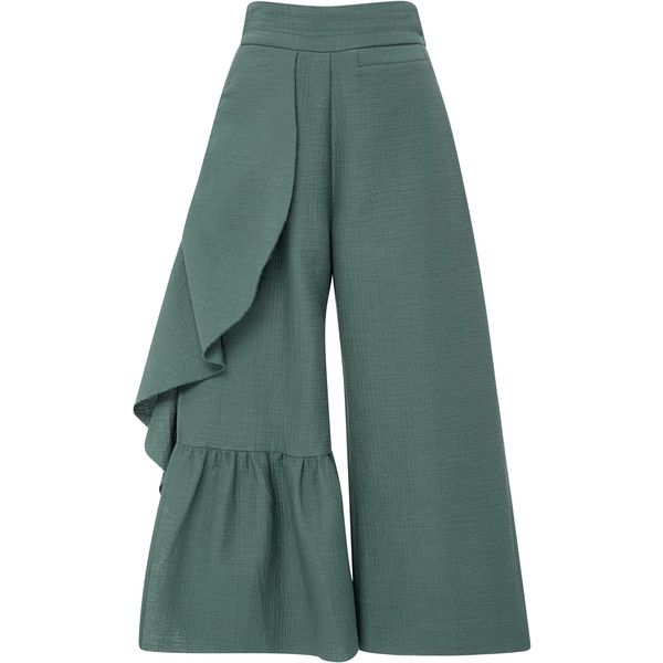 Rachel Comey Cropped Ruffle Revel Pants ($530) ❤ liked on Polyvore featuring pants, capris, blue, blue pants, frilly pants, green crop pants, cropped pants and green trousers