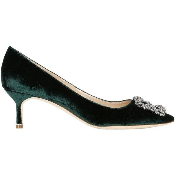 Manolo Blahnik Women 50mm Hangisi Swarovski Velvet Pumps ($1,230) ❤ liked on Polyvore featuring shoes, pumps, dark green, mid-heel pumps, leather sole shoes, manolo blahnik shoes, dark green pumps and velvet shoes