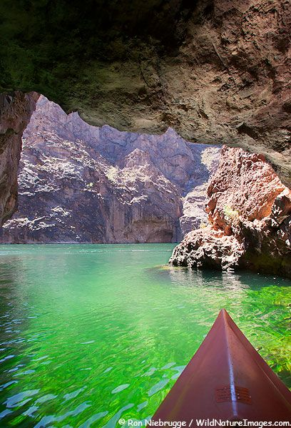 EMERALD CAVE PICTURES Kayaking on the Colorado River, Lake Mead Recreation Area, Mojave Desert, Nevada and Arizona. photo by Ron Niebrugge
