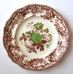 Vintage Copeland Spode Apple Green & Brown Transferware French Roses Transferware Plate or Charger