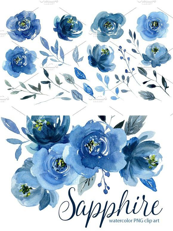 Watercolor Indigo Blue Flowers Roses Watercolor Flowers