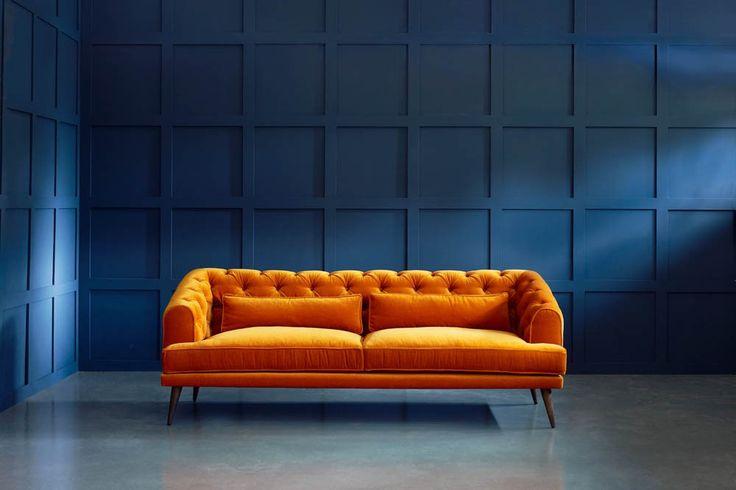 Mohair Chesterfield Sofa, UK - Earl Grey