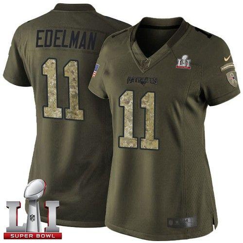 Women's Nike New England Patriots #11 Julian Edelman Limited Green Salute to Service Super Bowl LI 51 NFL Jersey