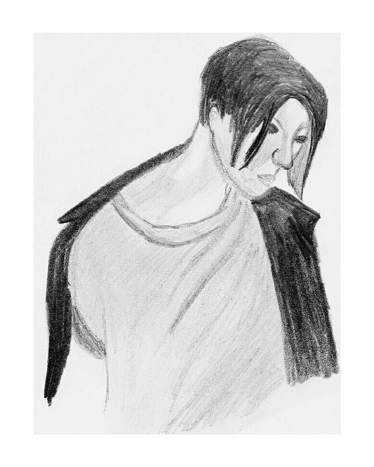 Michael Pitt pencil portrait, by Emma Conner