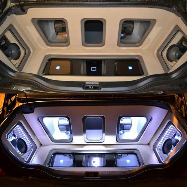 trunk car audio fabrication custom sub enclosure plexi grills walled off leds