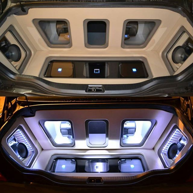 alpine car audio custom trunk install plexiglass plexi leds subwoofers amps subs infiniti mirror