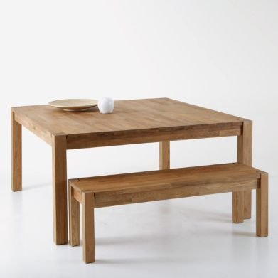 Table carrée, chêne massif, 8 couverts ADELITA