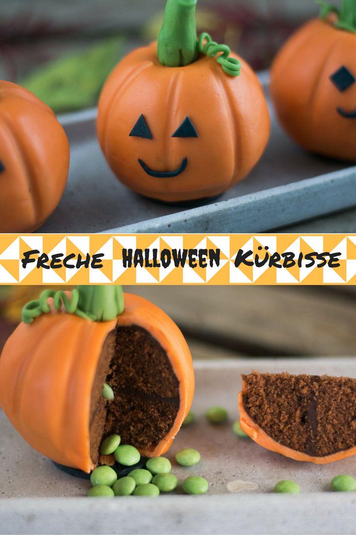 Freche Halloween Kürbisse - Saftiger Schokokuchen, gefüllt mit einer süßen Überraschung