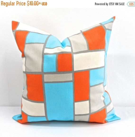 On Sale Hopscotch Mandarin/Natural Pillow by TwistedBobbinDesigns