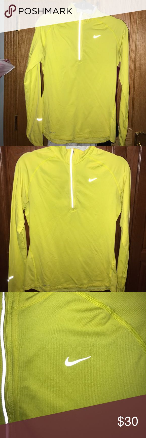 NIKE WOMENS YELLOW 1/4 ZIP Nike Women's Yellow 1/4 Zip, Fitted, Reflective Nike Tops Sweatshirts & Hoodies