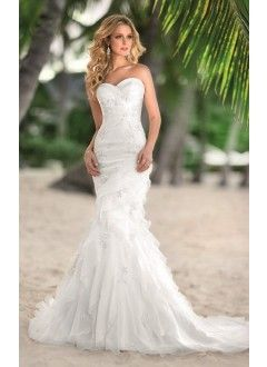 Mermaid Sweetheart Sweep Train Organza Beach Wedding Dress