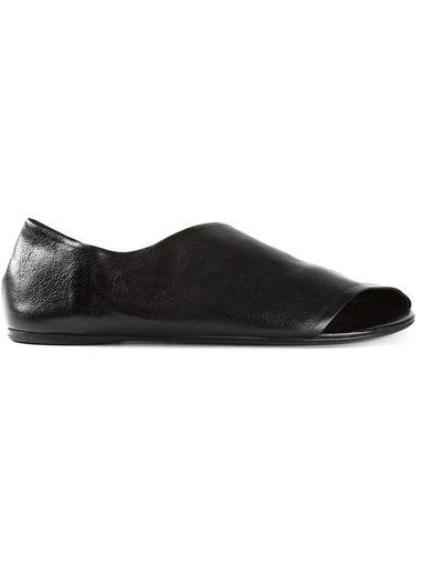 'Black calf leather open toe Ballerinas from Mars?ll featuring a cut out detail.'