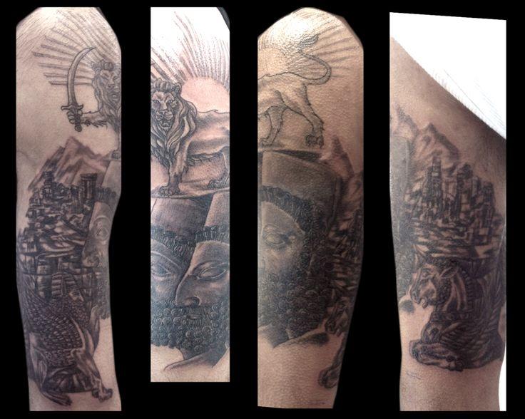 Persian 1/2 sleeve tattooed by Jude — at Damask Tattoo in Seattle, WA  Persian tattoo, lion tattoo, carving tattoo, stone tattoo