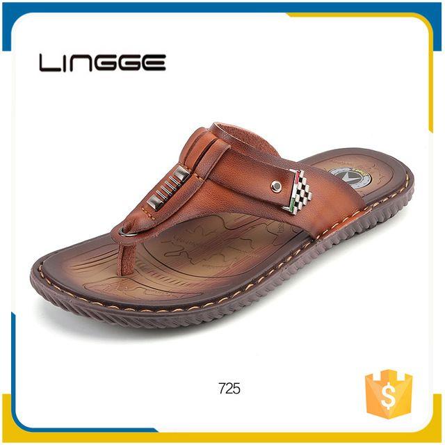 Source European men comfortable slippers leather sandals