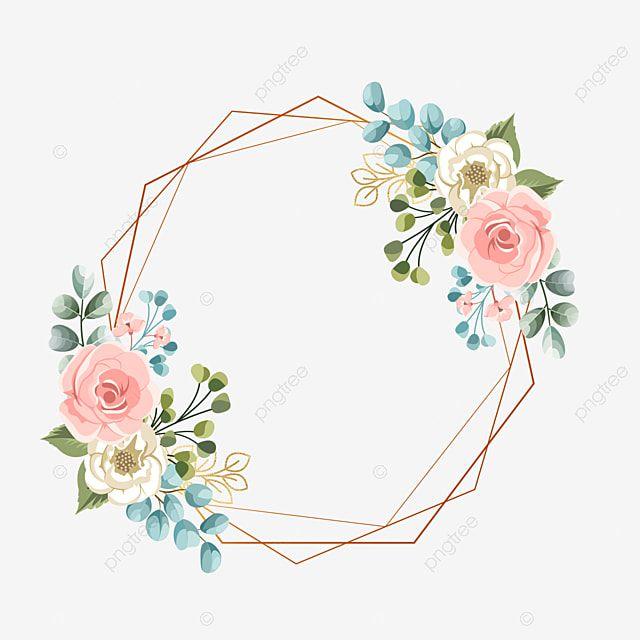 Geometric Frame With Pastel Flower Wedding Wedding Invitation Gold Png Transparent Clipart Image And Psd File For Free Download Flores Em Tons Pasteis Imagem Floral Convite De Casamento