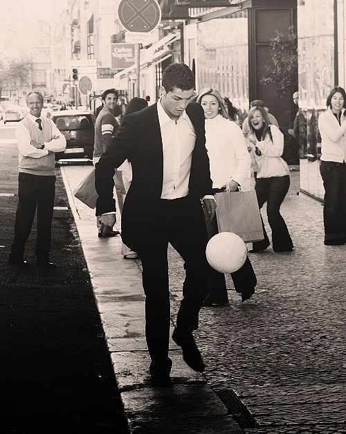Christiano Ronaldo    No matter what he's wearing he's always ready for some football...    Christiano Ronaldo