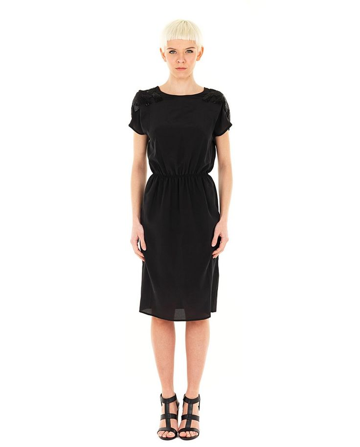 AUGUSTIN TEBOUL -50% Black silk dress crew-neck half sleeve elastic waist embroidered with paillettes 100% SE