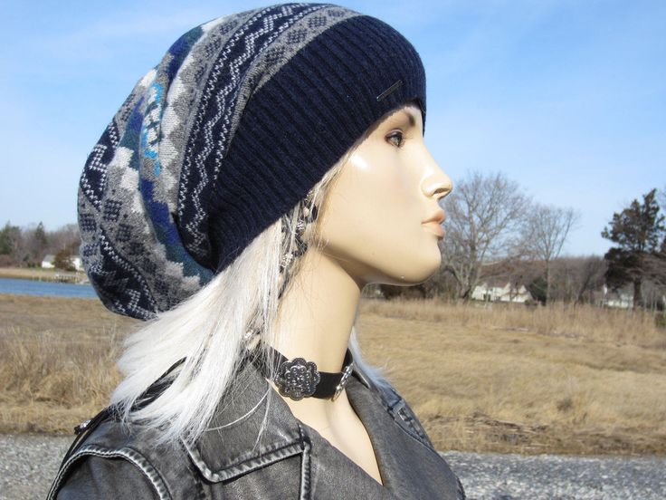 Long Back Fair Isle Slouchy Beanie Winter Lambswool Hat Striped Womens Slouch Tam Navy Blue Baggy Loose Big Head Hat A1173 by Vacationhouse on Etsy