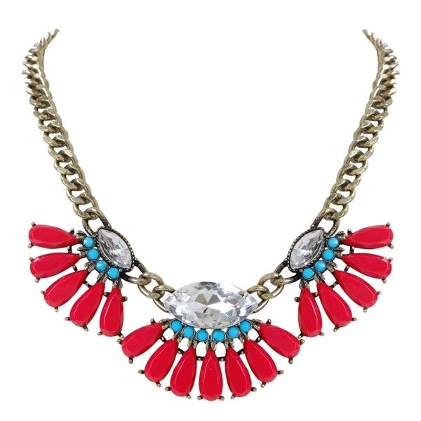 Humble Chic NY Navajo Statement Necklace ($25) ❤ liked on Polyvore featuring jewelry, necklaces, red, red bubble necklace, rhinestone bib necklace, red rhinestone necklace, bib necklace and flower necklace