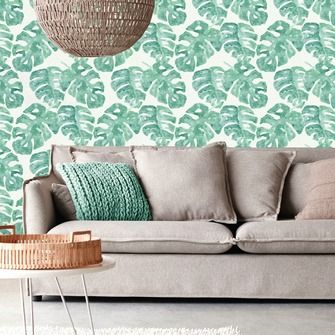 love this wallpaper! design by Eijffinger® vliesbehang blad tropisch groen