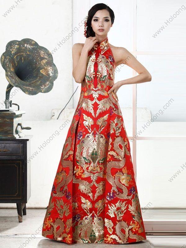 Brocade A-line Floor-length Halter Dragon Robe Expensive Cheongsam Wedding Dress - USD $ 1125.00