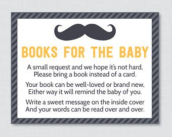 Mustache Baby Shower Bring a Book Instead of a Card Invitation Inserts - Instant Download - Little Man Baby Shower Yellow and Gray - 0002