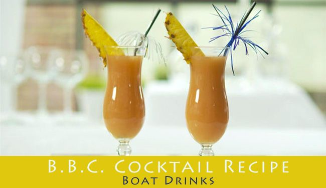 - B.B.C. Cocktail Recipe Via Reggae Beach Bar On St. Kitts -   * 1oz. Baileys * Half a Banana * 1oz. Coconut Cream * 1oz. Brinley Gold Shipwreck Rum * Mixing Instructions: Add all ingredients to blender with ice. Blend until smooth. Pour into glass and drizzle chocolate on top. Raise glass and toast.