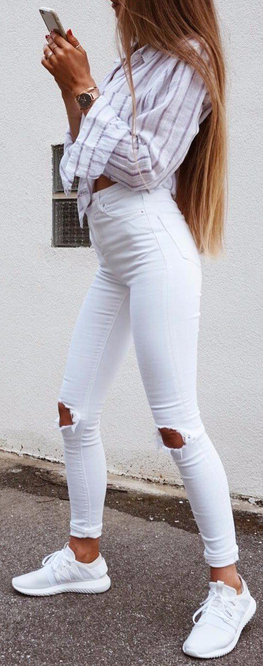 all white everything rips   stripped shirt