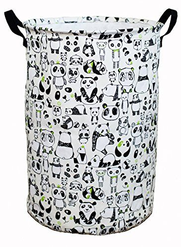 Laundry Hamper Basket for Kids with Panda Prints for Boy or Girl's Room and Baby Nursery. For product info go to: https://all4babies.co.business/laundry-hamper-basket-for-kids-with-panda-prints-for-boy-or-girls-room-and-baby-nursery/